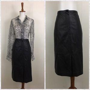 Talbots Leather Pencil Midi Skirt